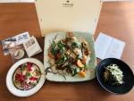 왼쪽부터 잣소스 광어 제주채소 샐러드, 제주광어탕수 청국장지짐, 광어 카펠리니 파스타