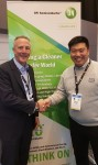 Wade Appleman, Vice President of ON Semiconductor and JiSeong Jeong, CEO of SOS LAB are taking a pho