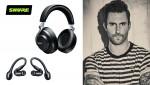 AONIC 50 무선 노이즈캔슬링 헤드폰, AONIC 215 True Wireless Sound Isolating™ 이어폰과 Shure의 모델인 애덤 리바인