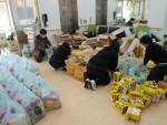 고흥군장애인복지관 직원들이 긴급식품지원을 위해 정성을 담아 준비하고 있다