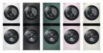 왼쪽부터 LG전자 트롬 워시타워 릴리 화이트, 스페이스 블랙, 포레스트 그린, 코랄 핑크, 샌드 베이지