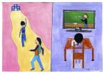 전시 '용례채집: 관계의 재해석'을 통해 수집된 작품. 이은솔 어린이가 생각하는 코로나시대에 느끼고 있는 '변화'라는 단어의 이미지