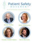환자안전활동재단이 예방 가능한 환자 사망 퇴치와 인식 제고에 기여한 노력에 대해 스티브 버로우스, 폰다 바덴 베이츠, 마티 하틀리, 바브 펠레트로를 2020 인도주의상 수상자로 선