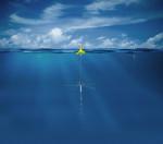 Artist's impression of a SonoFlash sonobuoy at sea