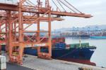 4600TEU급 컨테이너선 HMM 굿윌호가 부산 신항 HPNT에서 국내 수출기업들의 화물을 싣고 있다