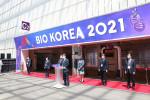 권순만 한국보건산업진흥원장이 '바이오코리아 2021' 개회사를 하고 있다