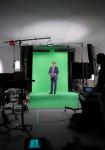 프랑수아 올랑드 전 프랑스 대통령이 홀로그램 촬영을 하고 있다