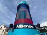 유로 2020 페스티벌 타워의 하이센스 로고