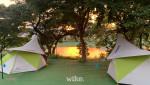 북한강 노을 배경의 캠프 사이트