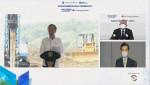 조코 위도도 인도네시아 대통령(왼쪽 화면), 정의선 현대자동차그룹 회장(오른쪽 상단 화면), 김종현 LG에너지솔루션 사장(오른쪽 하단 화면)이 온라인 화상 연결을 통해 배터리셀 합