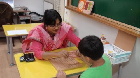 Hands-on-training  for Autism children in Miral school.