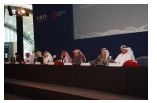 Members of the New Doha International Airport Steering Committee participate on panel at press confe...