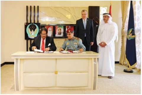 HH Sheikh Saif bin Zayed Al Nahyan while attending the signing of the MoU with the UNODC