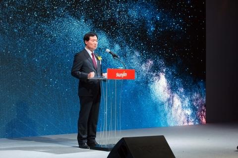 축산식품전문기업 선진 이범권 총괄사장이 올해 1월에 열린 자사 전진대회에서 2017년 비전을 발표하고 있다