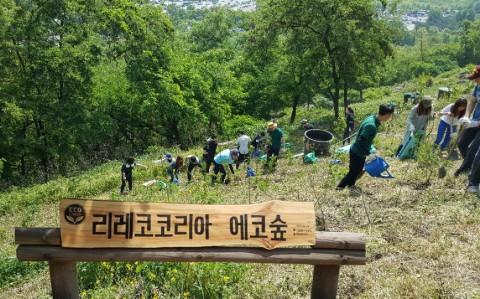 리레코 코리아 임직원들이 서울 월드컵경기장 하늘공원 근처 식목 부지에 나무를 심고 있다