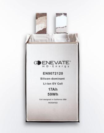 Enevate의 실리콘 전극 기반의 EV 배터리 기술은 에너지 밀도가 750Wh/L이상 으로 최대 10C 충전 속도가 가능하다