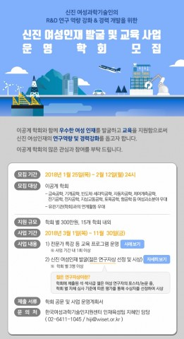 한국여성과학기술인지원센터가 신진 여성인재 발굴 및 교육 사업을 운영할 학회를 모집한다. 사진은 학회 모집 안내문