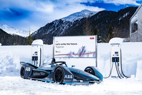 ABB FIA Formula E racing car in Davos