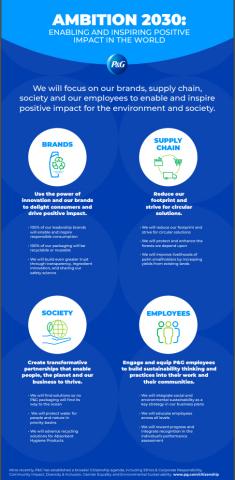 P&G의 야망 2030은 환경과 사회에 긍정적 인 영향을 미치도록 고무하기 위해 브랜드, 공급망, 사회 및 직원에 집중하고 있다