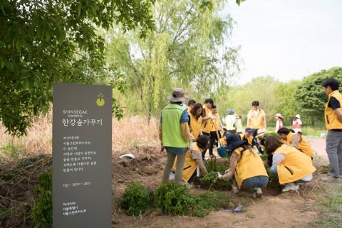 까사미아 임직원들이 서울그린트러스트와 함께 한강의 자연성 회복과 미세먼지 저감을 위한 숲을 조성하고 있다