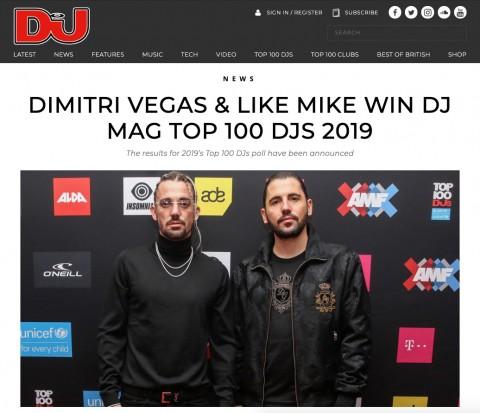 Dimitri Vegas & Like Mike가 올해 DJ Mag's 2019 TOP 100 DJs 투표를 통해 전 세계 1위로 선정됐다