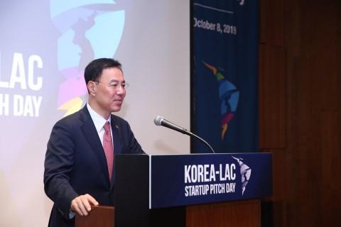 한-중남미 스타트업 피치데이(Korea-LAC Startup Pitch Day) 및 일대일 파트너링데이(1:1 Partnering Day)에서 민원기 과학기술정보통신부 2차관이 인...