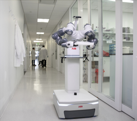 ABB's mobile and autonomous YuMi® laboratory robot concept will be designed to work alongside m...