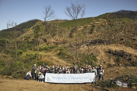강원 산불피해복구숲 조성에 참여한 유럽연합 의장국 핀란드 대사 및 임직원과 일반 시민참여자들