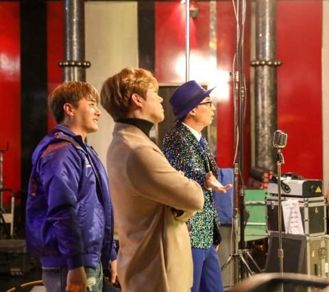 '사랑의 재개발' 뮤직비디오 촬영현장 왼쪽부터 후니, 용이, 유산슬