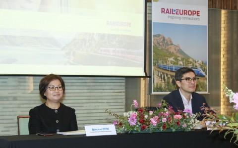 왼쪽부터 신복주 레일유럽 한국지사 대표, 다오 쿠오이 응우엔 레일유럽 CEO 및 e-voyageurs SNCF 국제 사업부 대표 이사