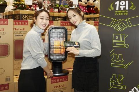 이마트 트레이더스 김포점에 오픈한 신일 겨울맞이 로드쇼에서 모델들이 신제품 에코히터 더 마스터를 시연하고 있다