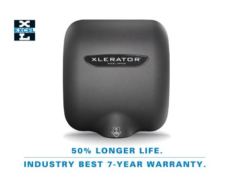 XLERATOR 핸드 드라이어 모델이 50% 길어진 수명과 업계를 선도하는 7년의 보증을 제공한다