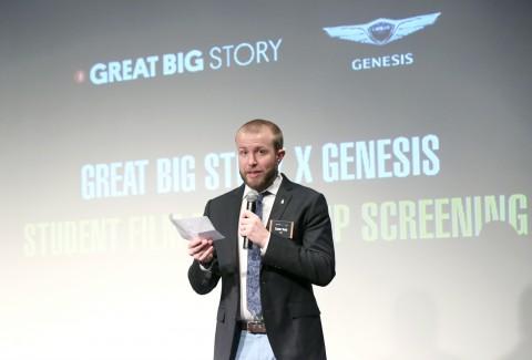 한강 더리버에서 열린 그레이트 빅 스토리(Great Big Story) 제네시스 영화 장학생 프로그램 특별 상영회에서 코너 볼스(Connor Boals) 그레이트 빅 스토리 크리에...
