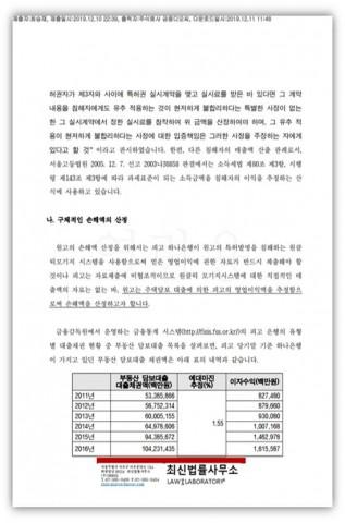 청구취지 및 청구원인 변경신청서 중 구체적인 손해액 산정