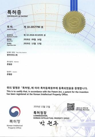 류형준 약사 항바이러스제 특허증