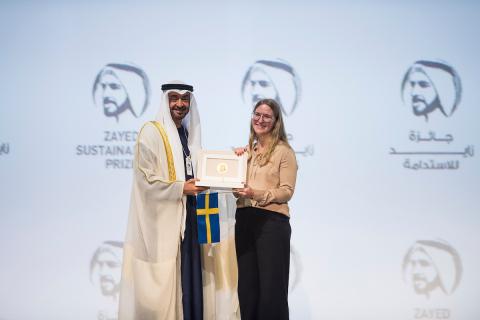 스웨덴 글로브의 수상자와 셰이크 모하메드 빈 자예드