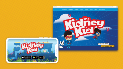 Through the launch of a smartphone game app and interactive website, The Kidney Kid 'edutainment' pr...