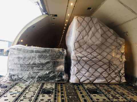 An India bound flight loaded with the first batch of medical supplies donated by the Jack Ma Foundat...