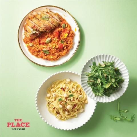 CJ푸드빌 더플레이스가 관자 파스타와 치킨 스테이크 리조또 봄 메뉴를 출시했다
