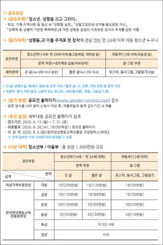 2020 양성평등 작품 공모전(6.15~7.31) 모집 요강