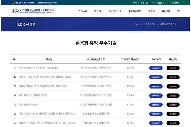시스템합성농생명공학사업단 TLO 추천 기술 목록