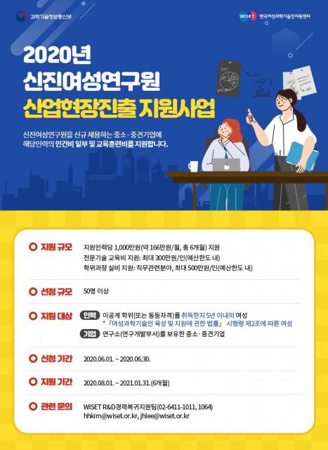 2020년 신진여성연구원 산업현장진출 지원사업 참여인력·기업 모집 포스터