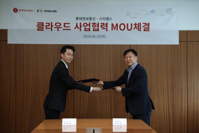 스타랩스와 롯데정보통신이 전략적 협력을 통한 국내외 클라우드 사업의 확장과 발전을 위해 업무 협약을 체결했다
