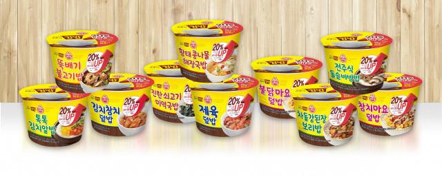 오뚜기가 맛있는 오뚜기 컵밥 전 제품의 밥 양을 20% 증량했다