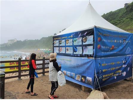 국립해양생물자원관이 해수욕장 관광객을 대상으로 해파리 쏘임 사고 예방법과 대처 방안을 알리는 프로그램을 진행한다