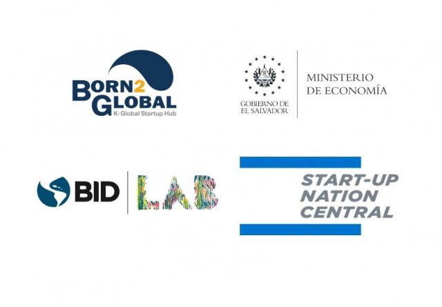 본투글로벌센터, 엘살바도르 경제부, IDB 랩, 스타트업 네이션 센트럴 로고