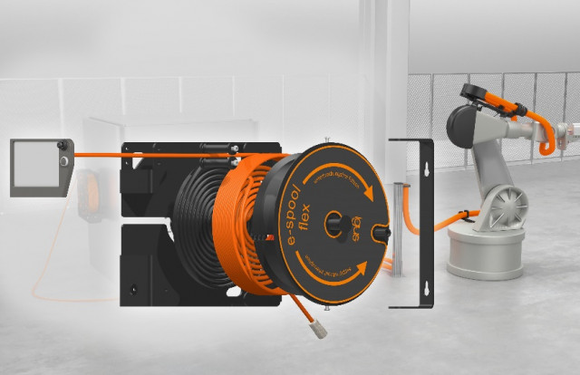 케이블을 쉽고 안전하게 보관할 수 있는 모듈식 e스풀 플렉스(출처 : igus GmbH)