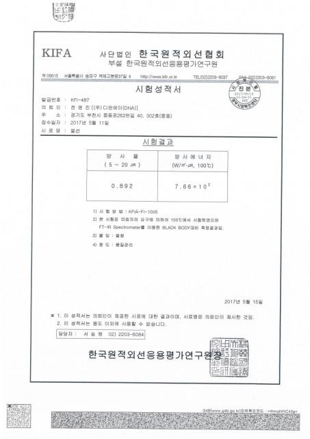 방사율, 방사에너지 시험 성적서(한국원적외선협회)