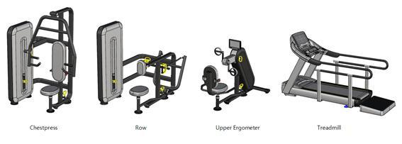 개발된 체스트프레스(Chestpress), 로우(Row), 상지에르고(Upper Ergonmeter), 트레이드밀(Treadmill) 유니버설디자인 운동용품