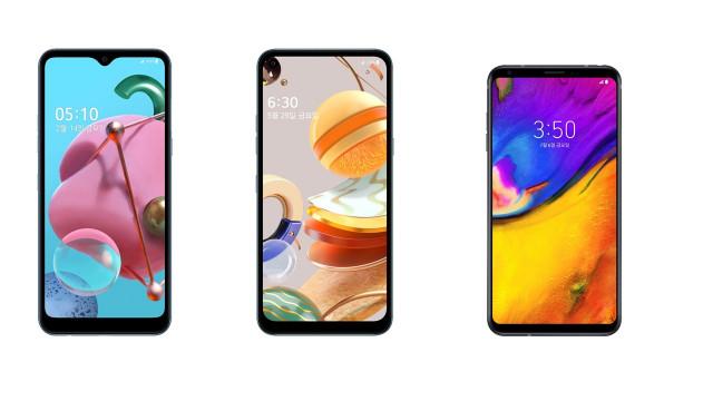 LG전자가 LG 벨벳 대표 UI를 실속형 스마트폰으로 확대 적용한다. 사진은 올 연말까지 LG 벨벳 대표 UI가 적용되는 제품들. 왼쪽부터 LG Q51, LG Q61, LG V35...